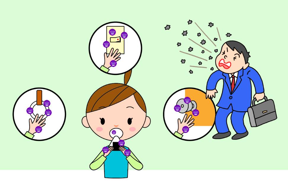 ウイルスは手や空気を通じて鼻や口から侵入してきます。