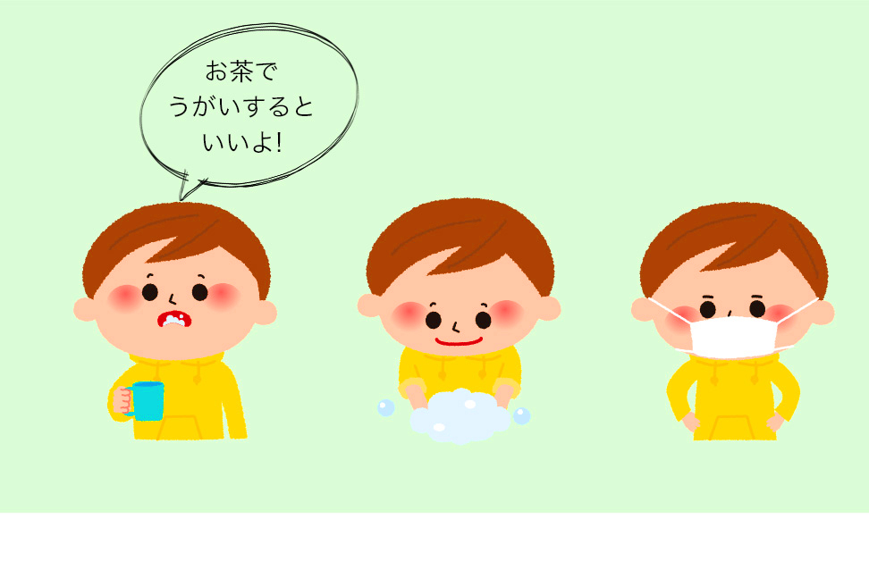 うがい・手洗い・マスクでウイルスの侵入を防ぎましょう。